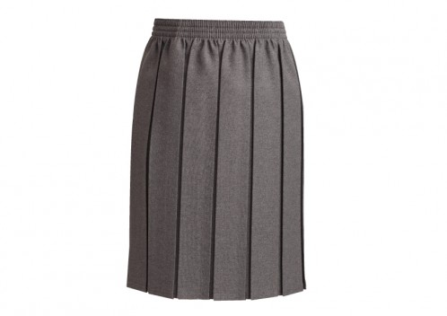Black, Brown and Royal Blue Box Pleat Skirt (7052B)