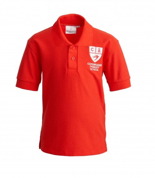 Copenhagen Red Polo Shirt with School Logo (8600)