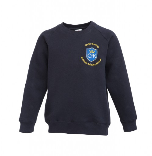 CTK Navy Round Neck Sweatshirt with School Logo (8790)