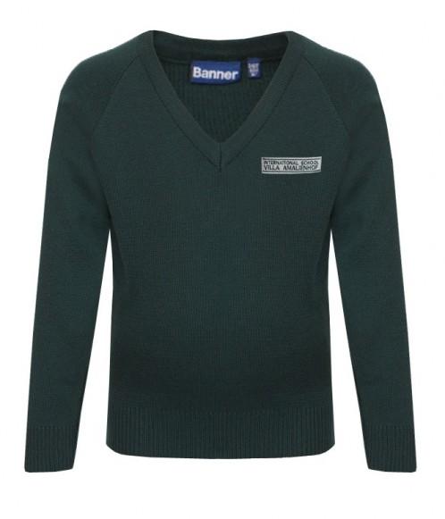 ISVA Long-Sleeve V-Neck Pullover with School Logo (8564)