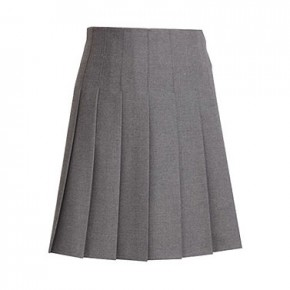 Stitched-Down Pleats Grey School Skirt (7447JTS)