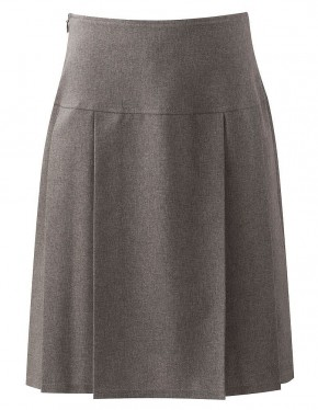 Girls Grey Henley Pleated Skirt (7434-GREY)
