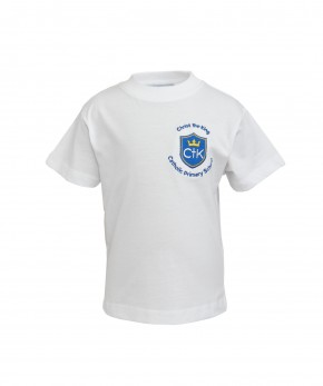 CTK White Round Neck T-Shirt with School Logo (8793)