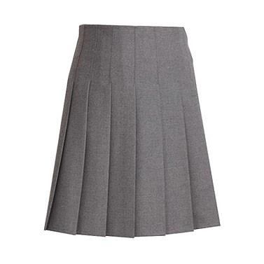 Grey Stitched-Down Pleats School Skirt (7334GREY)