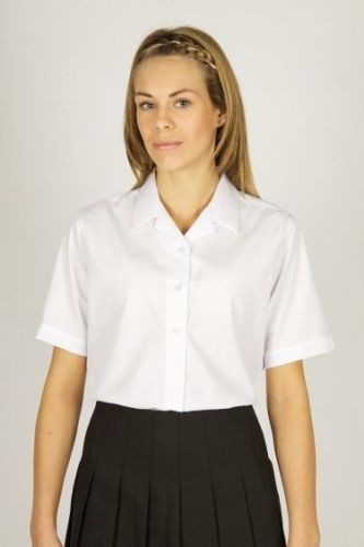Style 7082 Twin Pack 3//4 Sleeve Revere Collar School Blouses